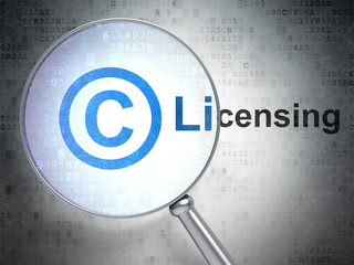 Law concept: Copyright and Licensing with optical glass