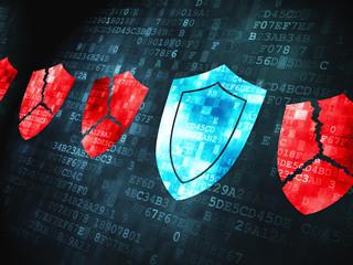 Safety concept: Shield on digital background