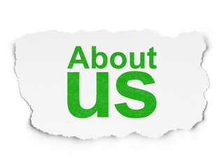 Marketing concept: About Us on Paper background