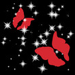 Red love butterflies on night sky brilliant