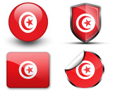 Tunisia flag button sticker and badge