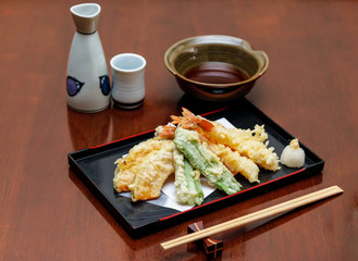 Japanese cuisine deep fried shrimps.  ( Tempura )
