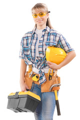 beautiful female worker with tools