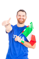 Italian Supporter on White Background