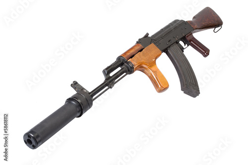 Kalashnikov Romanian version with silencer isolated on white