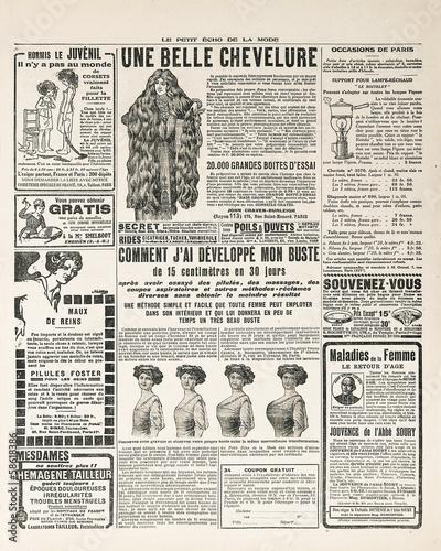 Deurstickers Kranten newspaper page with antique advertisement paris ca. 1919