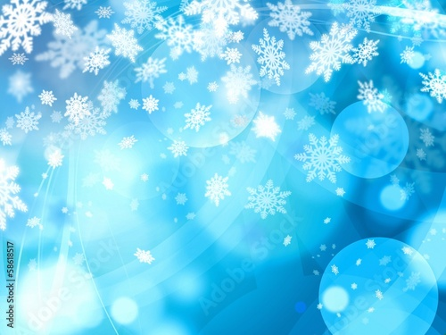 xmas blue abstract background. winter snoflakes