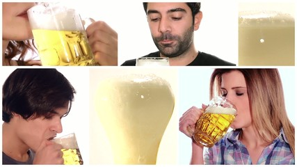 people drinking beer, collage