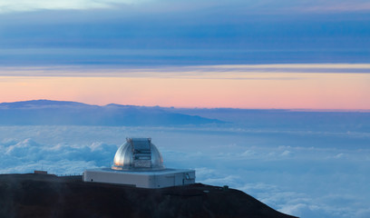 NASA Infrared Telescope Facility at sunset