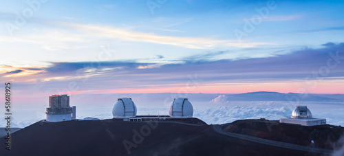 Four observatoriesat sunset, Hawaii