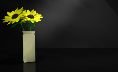 3D Illustration of a Vase of Sunflowers