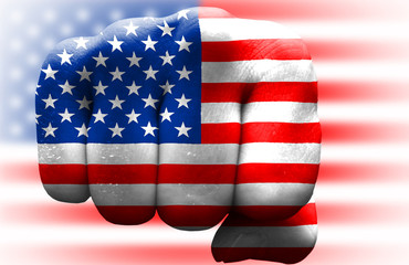 usa flag fist