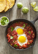 Overhead shot of huevos rancheros.