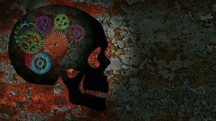 Mechanical Gears in a Human Skull on a Grunge Background