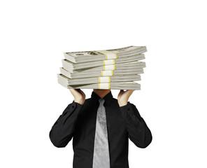 head lifting dollar businessman
