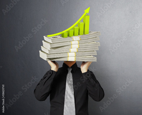 head lifting dollar businessman