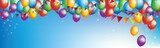 Background flying colorful balloons, vector illustration.
