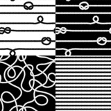 Navy rope with marine knots seamless patterns set in black white