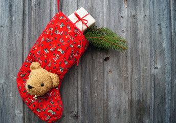 Nikolausstiefel mit Teddykopf