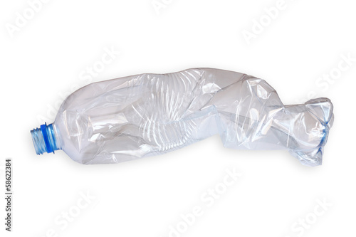 crushed plastic bottle isolated on white background