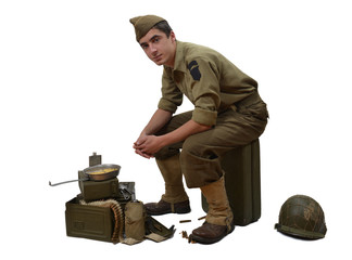 American soldier sitting on a jerrycan
