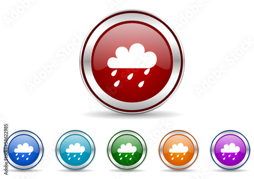 rain vector icon set