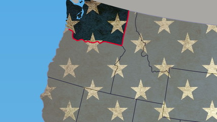 Washington state pull out, smooth USA map, all states available