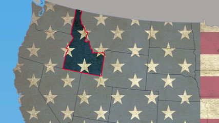Idaho pull out, smooth USA map, all states available