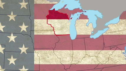 Wisconsin pull out, smooth USA map, all states available