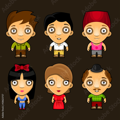 Set of funny people. Cartoon characters.
