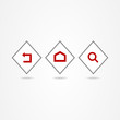 Business icon set button red