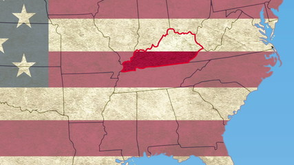 Kentucky pull out, smooth USA map, all states available