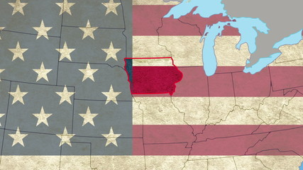 Iowa pull out, smooth USA map, all states available