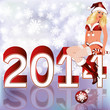 New 2014 Year card with Santa girl. vector illustration