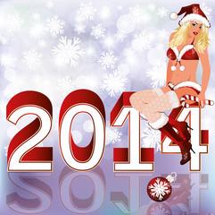 New 2014 Year card with Santa girl. vector illustration
