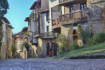 Streets typical of old world heritage village of Santillana del
