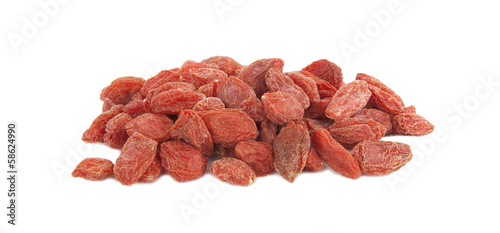 Pile of red Goji berries isolated on white background