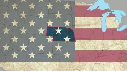 Nebraska pull out, smooth USA map, all states available