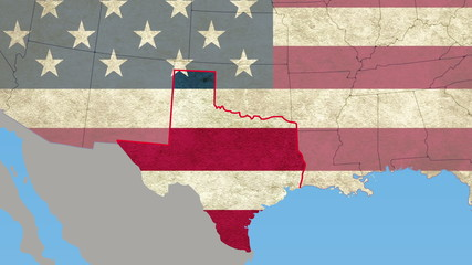Texas pull out, smooth USA map, all states available