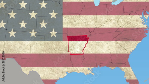 Arkansas pull out, smooth USA map, all states available