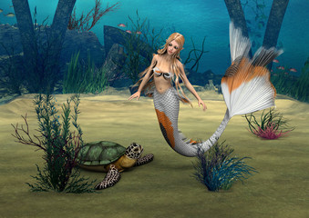 Mermaid und Turtle