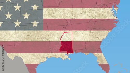 Mississippi pull out, smooth USA map, all states available