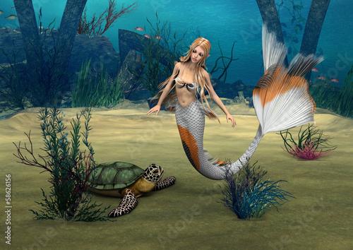 Foto op Plexiglas Draken Mermaid und Turtle