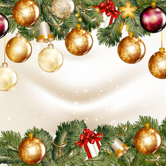 Christmas background  with  shining baubles on a fir tree branch