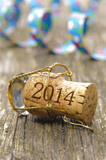 Champagne cork opened for new year's party 2014