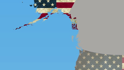 Alaska pull out, smooth USA map, all states available
