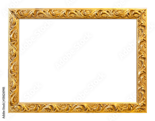 Leinwandbild Motiv Antique gold frame on the white background