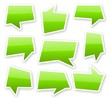 stickers of angular green glossy comics text bubbles