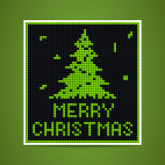 vector green christmas tetris card