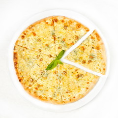 pizza with   mozzarella cheese and herbs